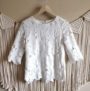 Boutique White Eyelet Lace Half Sleeve Blouse M